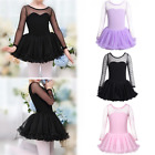 Ballet Girls' Long Sleeve Dress Kid Ballerina Polka Dots Mesh Leotard Dance Wear