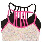 Big Girls Black Multi Color Back Cage Style Strappy 2 Pc Bralette Pack 7-16