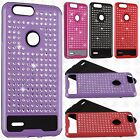 For ZTE Blade Z Max Hybrid IMPACT Diamond Layered Case Phone Cover +Screen Guard