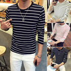 BA_  MEN'S STRIPE ROUND NECK LONG SLEEVE TOP SLIM FIT TEE BOTTOMING T-SHIRT VINT
