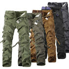 No Belt Cool Men's Cotton Casual Army Cargo Camo Combat Work Pants Trousers R48