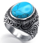 BA_ MEN'S CLASSIC VINTAGE BIG TURQUOISE STAINLESS STEEL CARVED BAND RING FADDISH