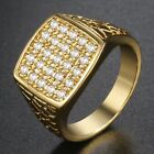 Micro Paved Square Clear CZ Mens Band Ring Yellow White Gold Filled GF Wedding