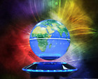 8 LED/C Shape Magnetic Levitation Floating Globe World Map Light Decor 3 Colors