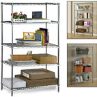 5 Tier Metal Chrome Kitchen Garage Room Storage Shelving Wire Rack Racking 6Pcs