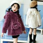Kids Children Girls Faux Fur Hooded Thick Cotton Coat Jacket princess Cute Warm