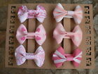 """Handmade Assorted Pinks Coloured Bow Hair Clips/ Set Of Six 2"""" Grosgrain Bows"""