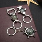 New Camping Portable Alloy Nautical Compass Keychain Ring Chain Corkscrew