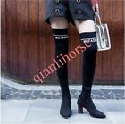 Block Heel Pointed Toe Pull On Knitting Women's Thigh Over The Knee Sock Boots