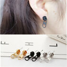 Womens Girl Zipper Shape Gold Black Alloy Pierced Ear stud Drop Earrings