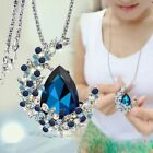 Beauty Women Moon Long Pendant Crystal Drop Necklace For Sweater Jewelry