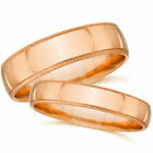 Rose Gold His Hers Matching Wedding Bands Plain Polished Milgrain Rings 14k