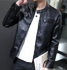 2018 Men Stand Collar Zipper Slim Fit Casual Motorcycle PU Leather Coat Jacket