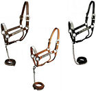 Внешний вид - LEATHER & SILVER HORSE SHOW HALTER & LEAD W/ CHAIN DARK BROWN, BLACK, MED BROWN