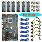 Mining Motherboard+6pcs PCI-E Extender Riser Card Spare For BTC Eth Rig Ethereum