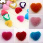 20/50pcs 15mm Mixed Color Heart Shape Handmade Plush Covered Button For Home Use