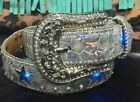 Girls Angel Ranch Silver Leather Belt Light Up Blue Stars Bling Silver Buckle