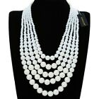 Fashion Jewelry Resin Pearl Chain Choker Chunky Statement Pendant Bib Necklace