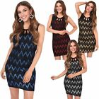 Women Ladies Metallic Sleeveless Cut Out Stretch Fitted Bodycon Party Mini Dress