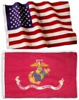 USMC, Marine and American Flag Combination, Made In USA, All Sizes, You Pick