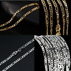 Women Men 925 Silver Gold 2mm Figaro Flat Chain Necklace Jewelry Chain Proposal
