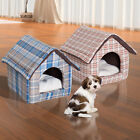 Plush Pet House Dog Cat Sleep Bed Cozy Warm Soft Cave w/ Removable Cushion Mat