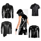 Herren Glanz Shirt Wet Look T-Shirt Vest T-shirts Tops M-2XL Zum Sport Hemd Gym