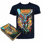Justice League Comic Cover Boxed Black Tee Shirt Blue
