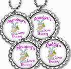 Love Bunny Kid's Bottle Cap Necklace Handcrafted Grandparents Mom or Dad