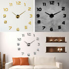 US DIY Analog 3D Mirror Surface Large Number Wall Clock Sticker Home Decor
