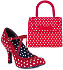 Ruby Shoo Jessica Court Shoes & Matching Santiago Bag UK 3-9 Black Red Spot