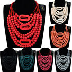 Fashion Jewelry Chain Wood Beads Collar Cluster Statement Pendant Bib Necklace