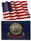 Idaho State and American Flag Combination, Made In USA, All Sizes, You Pick