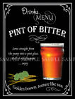 PINT OF BITTER RETRO PUB,BAR,CLUB MEN CAVE,  ,METAL SIGN :3 SIZES TO CHOOSE FROM