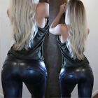 Sexy Women Casual Faux Leather Jeans Trousers Stretchy Slim Leggings Denim Pants