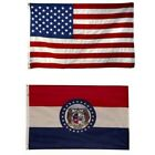 Missouri State and American Flag Combination, Made In USA, All Sizes, You Pick