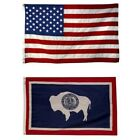 Wyoming State and American Flag Combination, Made In USA, All Sizes, You Pick