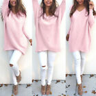 Plus Size Women Batwing Oversize Shirt Tops Blouse V Neck Casual Jumper Sweaters