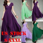 US Women V-neck Boho Dress Chiffon Maxi Dress Long Party Bride Bridesmaids S-3XL