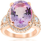 9 1/2ct Oval Amethyst Vintage Halo Diamond Ring Huge 14k Rose Gold