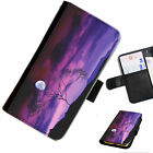 SKY 09 PURPLE NIGHT MOON PRINTED LEATHER WALLET/FLIP CASE COVER FOR MOBILE PHONE
