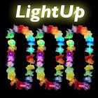 LED HAWAIIAN LEI HULA LIGHT UP FLOWER GARLANDS NECKLACE PARTY COSTUME LOT