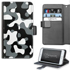 HAIRYWORM BLACK AND WHITE CAMO PRINTED DELUXE LEATHER WALLET FLIP PHONE CASE