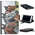 (BG0235) BROWN AND GREY HORSES LUXURY LEATHER PHONE CASE PHONE COVER
