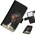 lumia 520 cases and covers - HOR01 HORSE AND DOG PRINTED LEATHER WALLET/FLIP PHONE CASE COVER FOR ALL MODELS