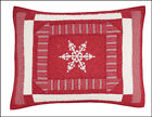 St NICHOLAS QUILT SHAM - 100% Cotton - STANDARD or KING Red Snowflakes 🌟New🌟