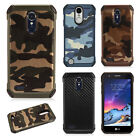 For LG Aristo 2 Rubber IMPACT TRI HYBRID Case Skin Phone Cover + Screen Guard