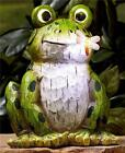 SOLAR LED LIGHTED CARVED WOOD-LOOK FROG TURTLE OWL GARDEN STATUE LAWN SCULPTURE