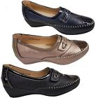 Ladies Faux Leather Patent Croc Metallic Elasticated Padded Insole Low Wedges