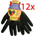 12 PAIRS MENS WORK GLOVES POLYESTER SHELL LATEX COATING GARDENING BUILDERS NEW
